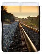 Railroad Tracks At Sundown Duvet Cover