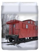 Railroad Train Red Caboose Duvet Cover