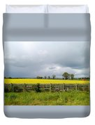 Rain Clouds Over Canola Field Duvet Cover