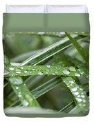 Rain Drops On Grasses Duvet Cover