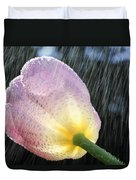 Rain Falling On A Tulip Duvet Cover