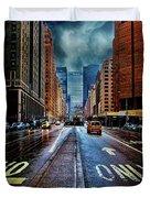 Rain On Park Avenue Duvet Cover