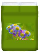 Rainbow Colored Weed Daisies Duvet Cover