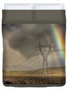 Rainbow Forms Over Powerlines Duvet Cover