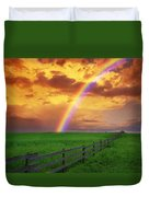 Rainbow In Country Field With Gold Duvet Cover