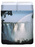 Rainbow In Front Of Victoria Falls Duvet Cover