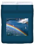 Rainbow On Niagara Falls Duvet Cover