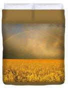 Rainbow Over Farmers Field Duvet Cover