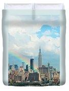 Rainbow Over Manhattan Duvet Cover