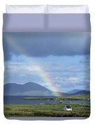Rainbow Over Mountains, Ballinskelligs Duvet Cover