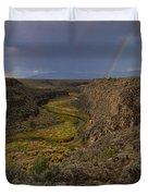 Rainbow Over The Rio Pueblo Duvet Cover by Ron Cline