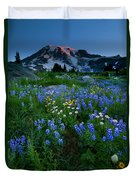 Rainier Wildflower Dawn Duvet Cover by Mike  Dawson