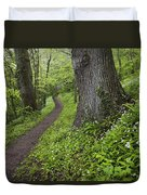 Ramsons By Path In Woods, County Louth Duvet Cover