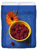 Raspberries In Yellow Bowl Duvet Cover