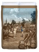 Reading The Declaration Of Independence Duvet Cover by Photo Researchers