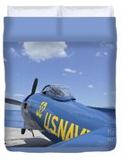 Rear View Of A F8f Bearcat Parked Duvet Cover