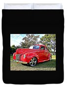 Red 1940 Ford Deluxe Coupe Duvet Cover