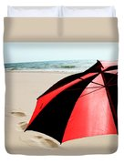 Red And Black Umbrella On The Beach With Footprints Duvet Cover