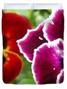 Red And Magenta Pansies Duvet Cover