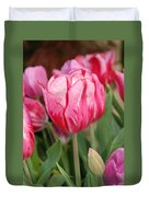 Red And Pink Tulips Duvet Cover