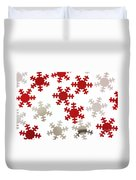 Red And Silver Snowflakes Duvet Cover