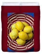 Red And White Basket Full Of Lemons Duvet Cover by Garry Gay