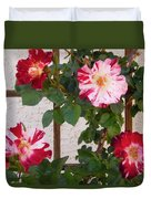 Red And White Roses Duvet Cover