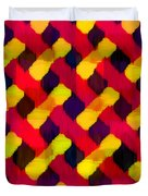 Red And Yellow Basketweave Bias Duvet Cover