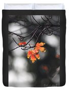 Red And Yellow Fall Leave's Closeup Duvet Cover