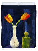 Red And Yellow Tulips In Vase Abstract Palette Knife Painting Duvet Cover