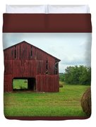 Red Barn And Hay Bales 3 Duvet Cover