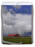 Red Barn And Stormy Sky Duvet Cover