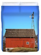 Red Barn And Windmill Duvet Cover