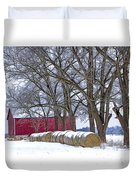 Red Barn In Winter With Hay Bales Duvet Cover