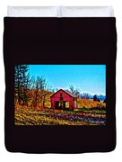 Red Barn On A Hillside Duvet Cover