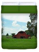 Red Barn On The Horizon Duvet Cover