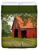 Red Barn With Orange Roof 1 Duvet Cover