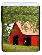 Red Barn With Pink Roof Duvet Cover
