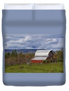 Red Barn With Tin Roof Duvet Cover