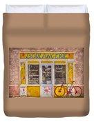Red Bike At The Boulangerie Duvet Cover