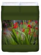 Red Blade Symmetry Duvet Cover