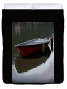 Red Boat In A Canal In The Netherlands Duvet Cover