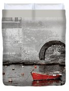 Red Boat In The Harbor At Vernazza Duvet Cover