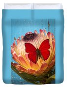Red Butterfly On Protea Duvet Cover