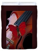 Red Butterfly On Violin Duvet Cover by Garry Gay