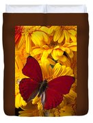Red Butterfly On Yellow Gerbera Daisies  Duvet Cover