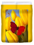 Red Butterful On Yellow Tulips Duvet Cover