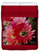 Red Cactus Flower With Bumble Bee Duvet Cover