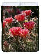 Red Cactus Flowers Duvet Cover