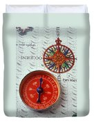 Red Compass And Rose Compass Duvet Cover